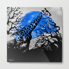 GIRAFFE IN A THICKET Metal Print