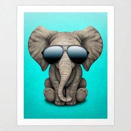 Cute Baby Elephant Wearing Sunglasses Art Print