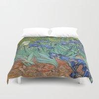 van gogh Duvet Covers featuring Vincent van Gogh - Irises by Elegant Chaos Gallery