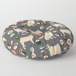 Pug sushi pattern dog breed cute pet art pet friendly gifts pugs Floor Pillow