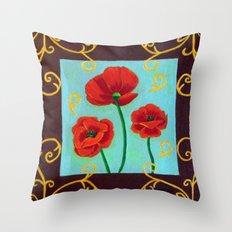 Poppies-4 Throw Pillow