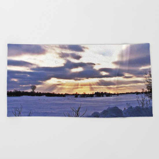 Sun Rays From Above Beach Towel