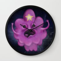lumpy space princess Wall Clocks featuring The Princess of Lumpy Space by Kristin Frenzel