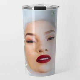 Asian Woman in Milk Bath Travel Mug
