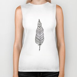 Aztec black and white feather Biker Tank