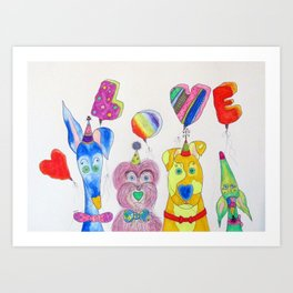 Dogs Are Love Art Print