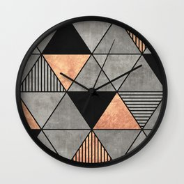 Concrete and Copper Triangles 2 Wall Clock