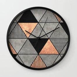 Concrete and Copper Triangles 2 Wall Clock