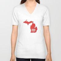 michigan V-neck T-shirts featuring Michigan Love by Tank Top Sunday