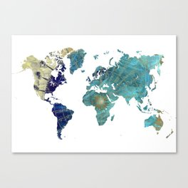 World Map Wind Rose Canvas Print