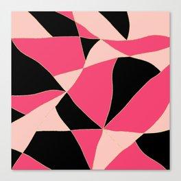Modern geometric neon pastel pink black pattern Canvas Print