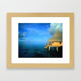 Over-the-Water Island Bungalow Framed Art Print