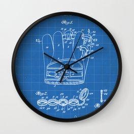 Baseball Glove Patent - Baseball Art - Blueprint Wall Clock
