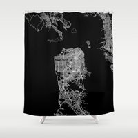 san francisco map Shower Curtains featuring san francisco map by Line Line Lines
