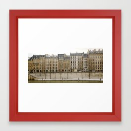 Snowy Apartments Paris Framed Art Print
