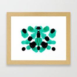 Neon Turquoise & Black Ink Blot Pattern Framed Art Print