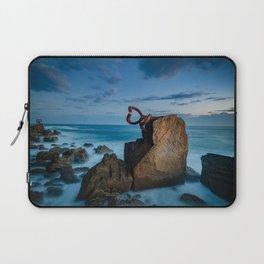 sunrise at the beach, san Sebastian donostia sculpture Laptop Sleeve