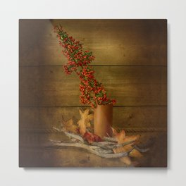Autumn Still Life with Firethorn Metal Print
