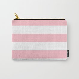 Horizontal Stripes - White and Pink Carry-All Pouch