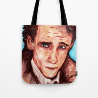 tom hiddleston Tote Bags featuring Hiddleston by AlysIndigo