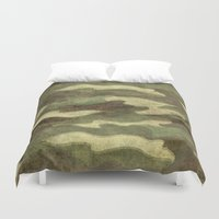 camo Duvet Covers featuring Dirty Camo by Bruce Stanfield