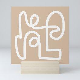 beige squiggle Mini Art Print