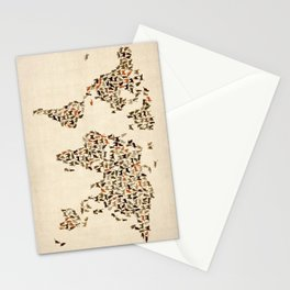 Cats Map of the World Map Stationery Cards