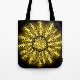 """Gold"" Gazania Flower Special Edition 1 (Black Back) Tote Bag"