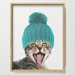 Cat with hat illustration Serving Tray