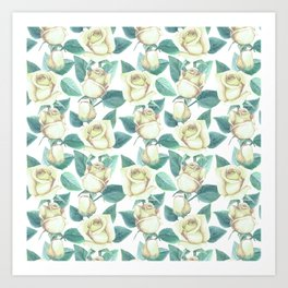 Elegant ivory white yellow green botanical roses floral Art Print