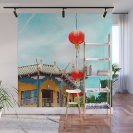Travel photography Chinatown Los Angeles VI temple with lamps Wall Mural