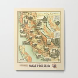 The Unique Map of California Vintage Illustration by Johnstone E. McD. 1888 with Modern Artsy Design Metal Print
