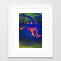 maryland Framed Art Prints featuring Maryland Map by Roger Wedegis