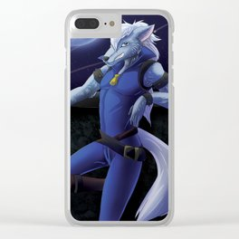 Wolf in Moonlight Clear iPhone Case