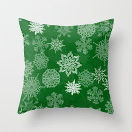 Snowflake Pattern (Green) Throw Pillow