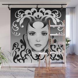 Black and white ornamental joker Wall Mural
