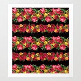Vertical Rose Floral Garlands in Black Art Print
