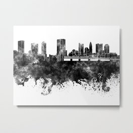 Columbus skyline in black watercolor on white background Metal Print