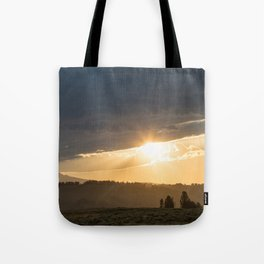Yellowstone National Park - Sunset, Blacktail Deer Plateau Tote Bag
