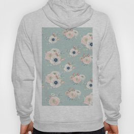 Dog Rose Pattern Mint Hoody