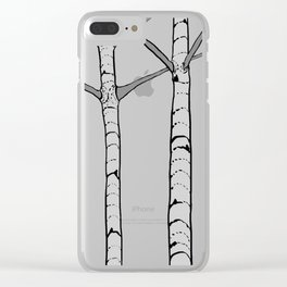 Poplar Tree Illustrated Print Clear iPhone Case