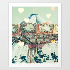Swing carousel nursery and heart bokeh on pale blue Art Print