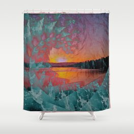 WAVE OVER SUNSET Shower Curtain