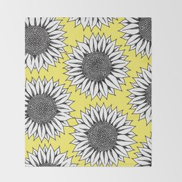 Yellow Sunflower in Black and White Hand Drawing Throw Blanket