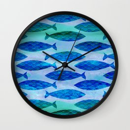 Blue Turquoise Green Watercolor Fish Pattern Wall Clock