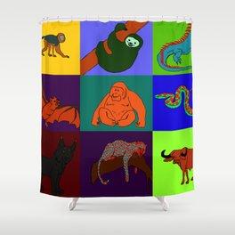Jungle Animals Pop Art Shower Curtain