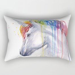 Rainbow Unicorn Watercolor Animal Magical Whimsical Animals Rectangular Pillow