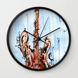 red on blue guitar Wall Clock