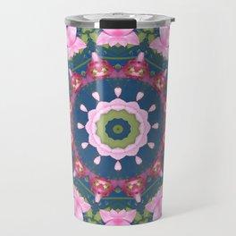 Flower-Mandala, blue pink, Spring blossoms Travel Mug