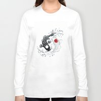 ying yang Long Sleeve T-shirts featuring Koi fish ying yang by Maioriz Home